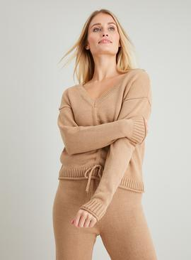 Brown Drawcord Hem Coord Jumper