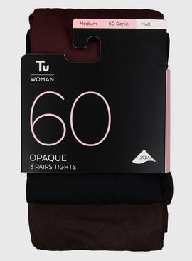 Black, Brown, Mulberry 60 Denier Opaque Tights 3 Pack