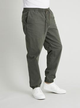 Khaki Canvas Cargo Loose Fit Pull On Joggers