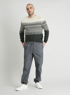 Grey Canvas Cargo Loose Fit Pull On Joggers