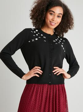 Black Pearl & Diamanté Embellished Cardigan