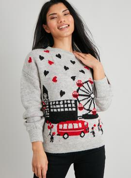 PETITE Christmas Grey London Scene Jumper