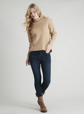 Tan Button Detail Rib Jumper