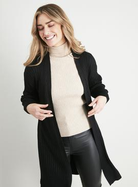 Black Metallic Yarn Longline Cardigan