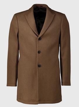 Camel Wool Blend Slim Fit Overcoat