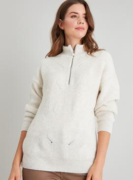Cream Zipped High Neck Pointelle Knit Jumper