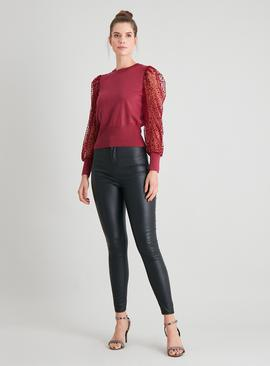 Red Sheer Spot Sleeve Jumper