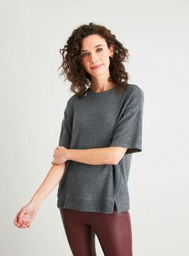 Grey Luxe Leisure Short Sleeve Rib Top