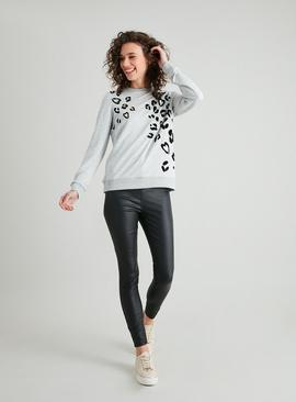 Grey Flock Leopard Star Sweatshirt