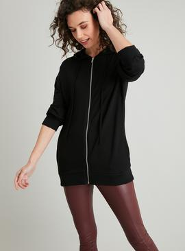 Black Longline Zip-Through Hoodie