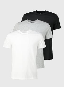 Black, Grey, White T-Shirts 3 Pack