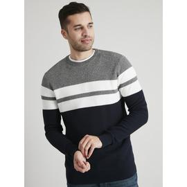 Navy & Grey Colour Block Textured Jumper