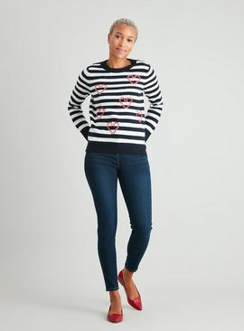 Christmas Navy Stripe Candy Cane Jumper