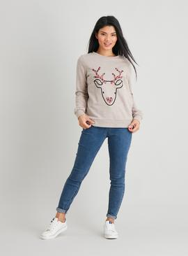PETITE Christmas Oatmeal Flock Deer Sweatshirt