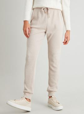 Cream Ribbed Soft Touch Jogger
