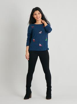 PETITE Christmas Knitlook Dog Party Top