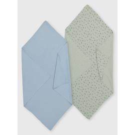 Blue & Green Muslin Blanket 2 Pack - One Size