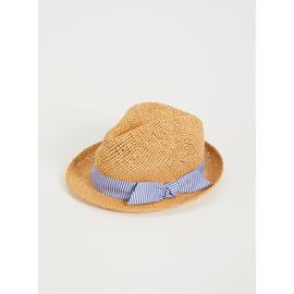 Natural Straw Stripe Band Trilby Hat - One Size