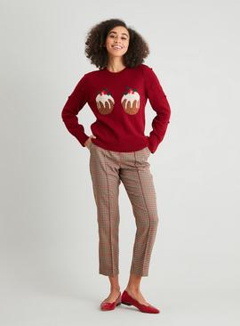 Christmas Pudding Burgundy Jumper