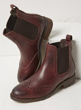 FATFACE Plum Leather Chelsea Boots