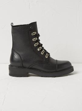 FATFACE Black Leather Hiker Boots
