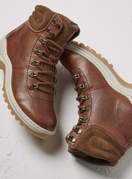FATFACE Tan Leather Hybrid Hiker Boots