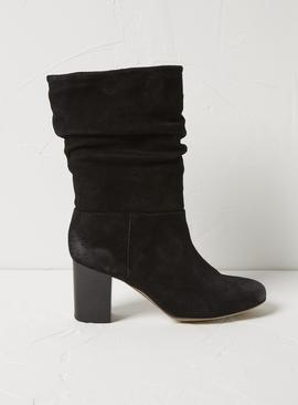 FATFACE Black Suede Slouch Boots