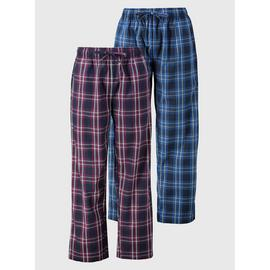Purple & Blue Check Print Pyjama Bottoms 2 Pack