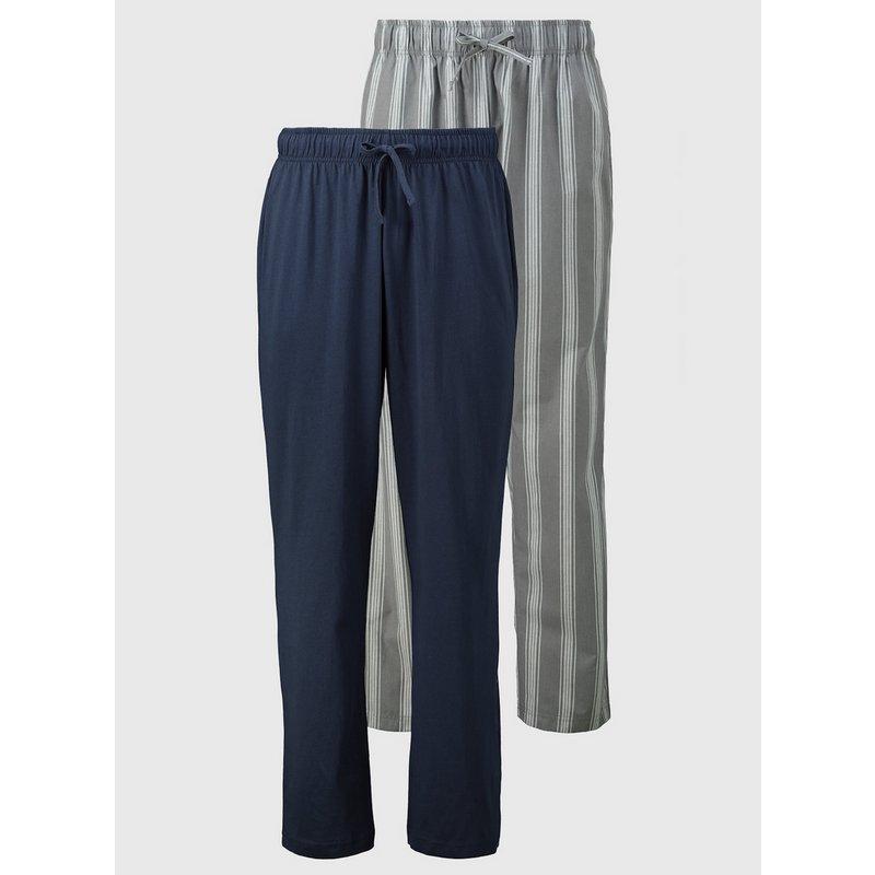 Plain Navy & Stripe Pyjama Bottoms 2 Pack from Argos