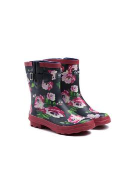 Flower Print Mid Calf Wellington Boots