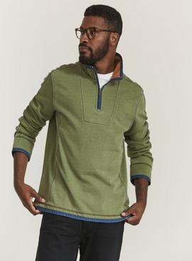 FATFACE Airlie Green Funnel Neck Sweat Top