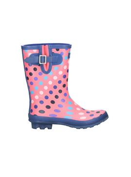 Pink Dotty Mid Calf Wellington Boot