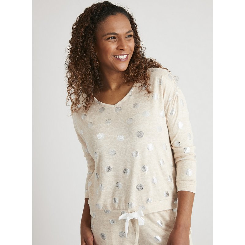 Oatmeal Metallic Spot Print Soft Touch Pyjama Top from Argos