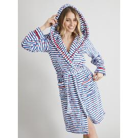 Blue Stripe & Heart Print Dressing Gown