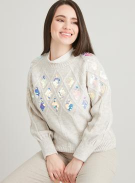PETITE Oatmeal Diamond Cable Sequin Jumper