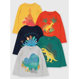 Dinosaur Graphic Long Sleeved Tops 5 Pack