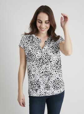 Animal Print Slinky Woven Front Top