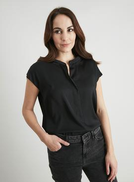 Black Woven Front Top