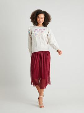 Oatmeal Diamond Cable Sequin Jumper