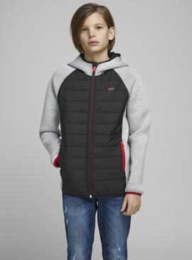 JACK & JONES Junior Black Quilted Hood Jacket