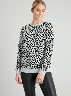 Animal Print Flocked Long Sleeved Sweatshirt