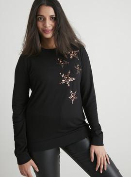 Black Trailing Star Sequin Sweatshirt