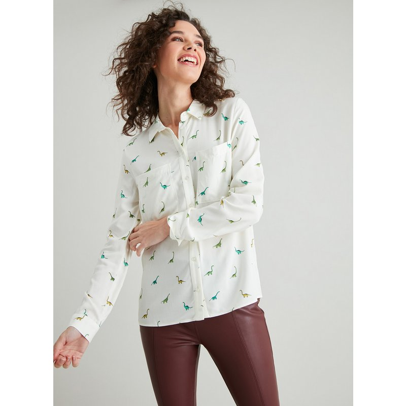 Cream Dinosaur Print Western Shirt from Argos
