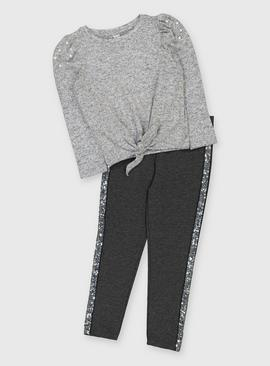 Grey Pearl Top & Sparkle Side Tape Legging Set
