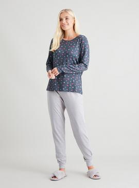 Star & Lips Print Soft Knit Pyjama Top