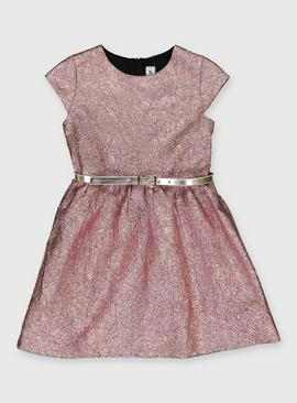 Metallic Pink Belted Party Dress