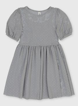 Grey Sparkle Dotted Mesh Dress