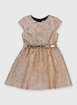 Metallic Gold Belted Party Dress