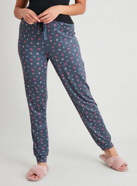 Star & Lips Print Soft Knit Pyjama Bottoms