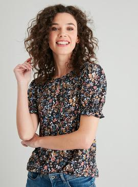 Ditsy Floral Shirred Puff Sleeve Top